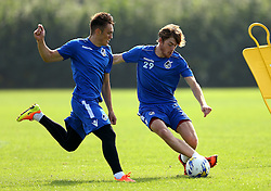 Luke James and Connor Roberts of Bristol Rovers take part in training - Mandatory by-line: Robbie Stephenson/JMP - 15/09/2016 - FOOTBALL - The Lawns Training Ground - Bristol, England - Bristol Rovers Training