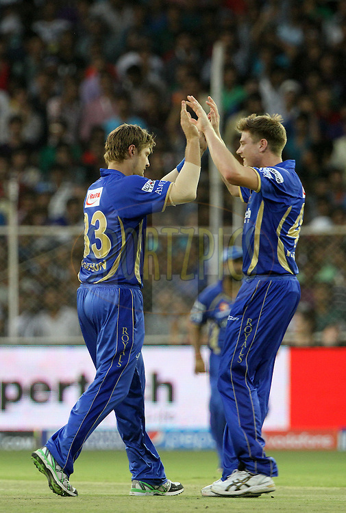 Shane Watson captain of the Rajasthan Royals  celebrates after taking the  wicket of Robin Uthappa of the Kolkata Knight Riders during match 25 of the Pepsi Indian Premier League Season 2014 between the Rajasthan Royals and the Kolkata Knight Riders held at the Sardar Patel Stadium, Ahmedabad, India on the 5th May  2014<br /> <br /> Photo by Vipin Pawar / IPL / SPORTZPICS      <br /> <br /> <br /> <br /> Image use subject to terms and conditions which can be found here:  http://sportzpics.photoshelter.com/gallery/Pepsi-IPL-Image-terms-and-conditions/G00004VW1IVJ.gB0/C0000TScjhBM6ikg