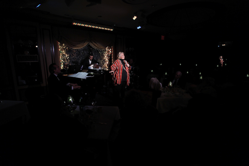 """Singer Barbara Cook performs """"Here's To Life"""" with Music Director and Pianist Lee Musikler, Peter Donovan on Bass, Percussionist James Saporito and Lawrence Feldman on Woodwinds  at Feinstein's on April 14, 2009 in New York city. photo by Joe Kohen for the New York times"""