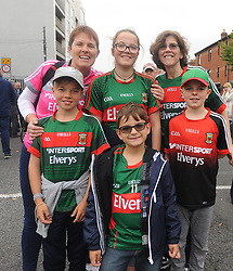 Marita Shannon from Kiltimagh with family and Connelly cousins from Chicago supporting Mayo at All Ireland Semi Final against Kerry at Croke Park.<br />Pic Conor McKeown