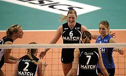 03-10-2010 VOLLEYBAL: SUPERCUP TVC AMSTELVEEN - KINDERCENTRUM ALTERNO: APELDOORN<br /> Amstelveen wint met 3-1 van Alterno / 6. Ester de Vries, 1. Kirsten Knip, 2. Judith Blansjaar en 5. Judith Pieterse<br /> &copy;2010-WWW.FOTOHOOGENDOORN.NL