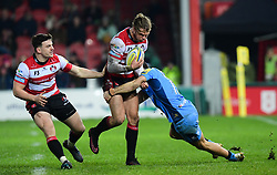 Henry Purdy of Gloucester Rugby is tackled by Alex Lewington of London Irish - Mandatory by-line: Alex Davidson/JMP - 02/12/2017 - RUGBY - Kingsholm - Gloucester, England - Gloucester Rugby v London Irish - Aviva Premiership