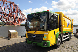 Bin lorry, North Queensferry, 20-5-2016<br /> <br /> A world's first - Fife's Hydrogen dual-fuel bin lorry<br /> <br /> Cllr Lesley Laird, Barbara Whiting (Lead professional Fife Council), Ally Cormack (Heil Farid) and Tom Henderson (Service Manager Fife Council)<br /> <br /> (c) David Wardle | Edinburgh Elite media