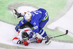 Istvan Sofron of Hungary and Robert Sabolic of Slovenia during Ice Hockey match between National Teams of Hungary and Slovenia in Round #3 of 2018 IIHF Ice Hockey World Championship Division I Group A, on April 25, 2018 in Arena Laszla Pappa, Budapest, Hungary. Photo by David Balogh / Sportida
