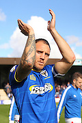AFC Wimbledon defender & captain Barry Fuller (2) prior the EFL Sky Bet League 1 match between AFC Wimbledon and Gillingham at the Cherry Red Records Stadium, Kingston, England on 1 October 2016. Photo by Stuart Butcher.