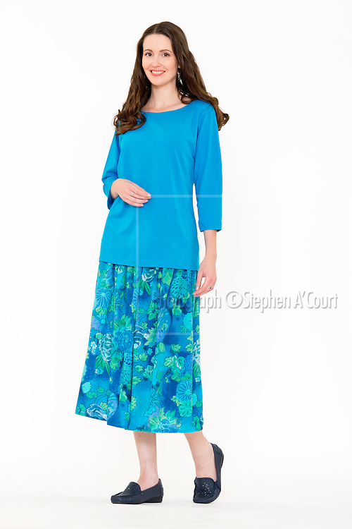 3/4 Sleeve Turquoise. Water Colour Skirt. Photo credit: Stephen A'Court.  COPYRIGHT ©Stephen A'Court