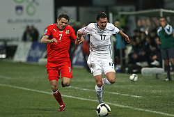 Libor Sionko of Czech Republic  vs Andraz Kirm of Slovenia at the 8th day qualification game of 2010 FIFA WORLD CUP SOUTH AFRICA in Group 3 between Slovenia and Czech Republic at Stadion Ljudski vrt, on March 28, 2008, in Maribor, Slovenia. Slovenia vs Czech Republic 0 : 0. (Photo by Vid Ponikvar / Sportida)
