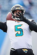 NASHVILLE, TN - DECEMBER 31:  Blake Bortles #5 of the Jacksonville Jaguars warms up before a game against the Tennessee Titans at Nissan Stadium on December 31, 2017 in Nashville, Tennessee.  The Titans defeated the Jaguars 15-10.  (Photo by Wesley Hitt/Getty Images) *** Local Caption *** Blake Bortles