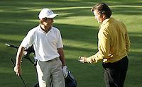 BOSCH EN DUIN ; NK Matchplay golf;. Darius van Driel met bondscoach Chris van der Velde, tijdens de finale