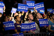 "Supporters cheer during U.S. Democratic Presidential candidate Senator Bernie Sanders' (I-Vt.) ""Future to Believe In"" Rally at the Kohl Center in Madison, Wisconsin April 3, 2016."