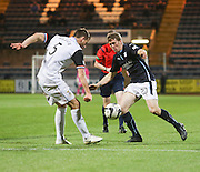 Dundee's Jim McAlister runs at Inverness' Garry Warren  - Dundee v Inverness Caledonian Thistle, SPFL Premiership at Dens Park <br /> <br />  - &copy; David Young - www.davidyoungphoto.co.uk - email: davidyoungphoto@gmail.com