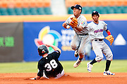 NEW TAIPEI CITY, TAIWAN - NOVEMBER 16:  Alan Schoenberger #38 of Team New Zealand steals second base in the top of the fifth inning during Game 3 of the 2013 World Baseball Classic Qualifier against Team Thailand at Xinzhuang Stadium in New Taipei City, Taiwan on Friday, November 1, 2012.  Photo by Yuki Taguchi/WBCI/MLB Photos