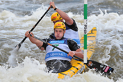 June 2, 2018 - Prague, Czech Republic - Ondrej Karlovsky and Jakub Jane of Czech Republic in action during the Men's C2 finals at the European Canoe Slalom Championships 2018 at Troja water canal in Prague, Czech Republic, 02 June 2018. (Credit Image: © Slavek Ruta via ZUMA Wire)