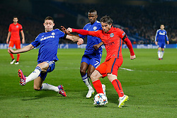 Maxwell of Paris Saint-Germain shoots - Photo mandatory by-line: Rogan Thomson/JMP - 07966 386802 - 11/03/2015 - SPORT - FOOTBALL - London, England - Stamford Bridge - Chelsea v Paris Saint-Germain - UEFA Champions League Round of 16 Second Leg.