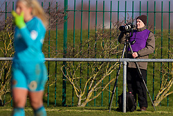 LIVERPOOL, ENGLAND - Sunday, February 4, 2018: A photographer with a 70-200mm lens on a gimbal on a tripod during the Women's FA Cup 4th Round match between Liverpool FC Ladies and Watford FC Ladies at Walton Hall Park. (Pic by David Rawcliffe/Propaganda)