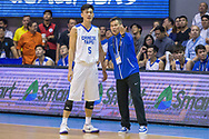 November 27, 2017 - Cubao, Quezon City, Philippines - Coach Chun-San Chou of Chinese Taipei giving instruction to Cheng Liu. Cheng Liu scored a total of 7 points with 3 out of 7 field goals.Gilas Pilipinas defended their home against Chinese Taipei. Game ended at 90 - 83. (Credit Image: © Noel Jose Tonido/Pacific Press via ZUMA Wire)