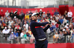 USA's Michael Phelps during a celebrity golf match ahead of the 41st Ryder Cup at Hazeltine National Golf Club in Chaska, Minnesota, USA.