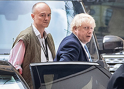 © Licensed to London News Pictures. 09/09/2019. London, UK. Prime Minister Boris Johnson arrives at Parliament with his special advisor Dominic Cummings (L). The government have announced that Parliament will be prorogued at the end of business today. Photo credit: Peter Macdiarmid/LNP