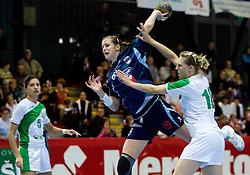 Ana Gros of Slovenia vs Iryna Artsiomenka of Belarus at Women European Championships Qualifying handball match between National Teams of Slovenia and Belarus, on October 17, 2009, in Kodeljevo, Ljubljana.  (Photo by Vid Ponikvar / Sportida)