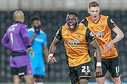 Adama Diomandé (Hull City) celebrates scoring the opening goal of the game with Sam Clucas (Hull City), 1-0 to Hull during the Sky Bet Championship match between Hull City and Wolverhampton Wanderers at the KC Stadium, Kingston upon Hull, England on 15 April 2016. Photo by Mark P Doherty.