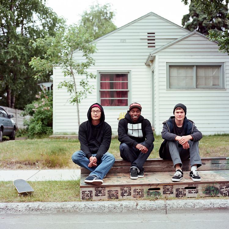 ANCHORAGE, ALASKA - 2012: Ted Kim, CeeJay Walker and Shay Martinson