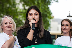 London, UK. 30 May, 2019. SEND student Melissa addresses campaigners from SEND National Crisis attending a demonstration in Parliament Square to demand improvements in the diagnosis and assessment of young people with SEND, assistance for their families, funding and legal and financial accountability for local authorities in their treatment of young people with SEND and their families.