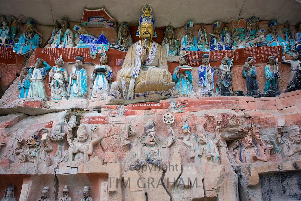 Dazu rock carvings reliious scene at Mount Baoding, Chongqing, China