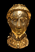 Reliquary Bust of Saint Yrieix.  Silver and gilded silver with rock crystal, gems and glass.  French, Limoges, from the Church of Saint-Yrieix-la-Perche.  Made about 1220-40, with later grill.
