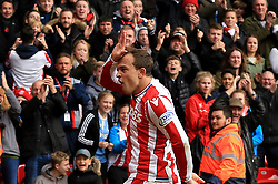 Xherdan Shaqiri of Stoke City celebrates after scoring an equaliser for his side (1-1) - Mandatory by-line: Paul Roberts/JMP - 04/11/2017 - FOOTBALL - Bet365 Stadium - Stoke-on-Trent, England - Stoke City v Leicester City - Premier League