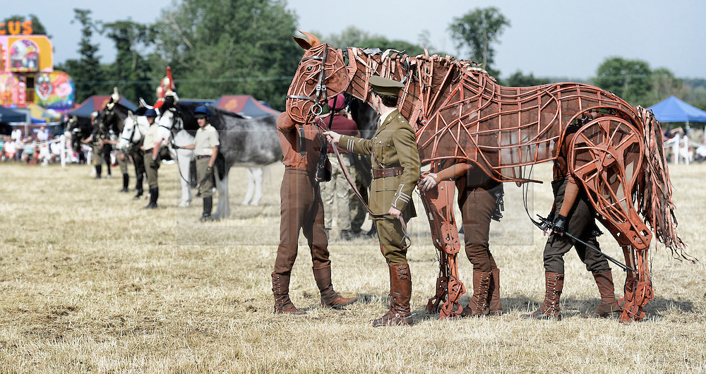 © London News Pictures. 14/07/2013.  14/07/2013. Joey the puppet from the stage play 'War Horse'  makes a guest appearance at the Household Cavalrys open weekend in West Tofts camp in Norfolk . Visitors get a chance to meet the horses and men of the Household Cavalry and learn all about what the Regiment does. The horses and men also showed off their newly enhanced skills with a programme including tent pegging and show jumping competitions.  Photo credit: Sergeant Alison Baskerville/LNP<br /> <br /> NOTE TO DESKS: <br /> MoD release authorised handout images. <br /> All images remain crown copyright. <br /> Photo credit to read - Sergeant Alison Baskerville RLC