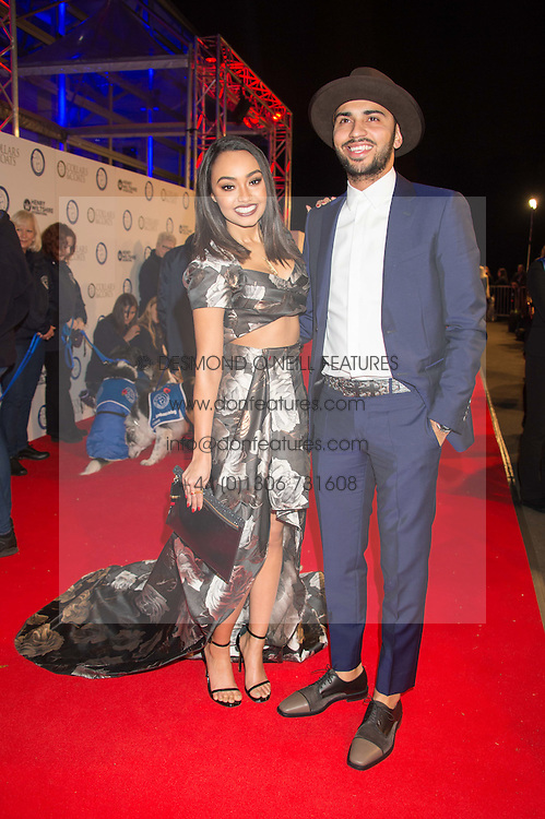 Singer LEIGH-ANNE PINNOCK from pop group Little Mix and JORDAN KIFFIN at the Battersea Dogs & Cats Home's Collars & Coats Gala Ball held at Battersea Evolution, Battersea Park, London on 12th November 2015.