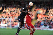 Charlton's Leon Cort (l) wins a header from Bristol's Sam Baldock.  NPower championship, Bristol city v Charlton Athletic at Ashton Gate stadium in Bristol on Sunday 11th November 2012.  pic by Andrew Orchard, Andrew Orchard sports photography,