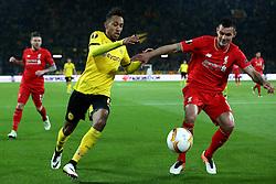 Pierre-Emerick Aubameyang of Borussia Dortmund takes on Dejan Lovren of Liverpool - Mandatory by-line: Robbie Stephenson/JMP - 07/04/2016 - FOOTBALL - Signal Iduna Park - Dortmund,  - Borussia Dortmund v Liverpool - UEFA Europa League Quarter Finals First Leg