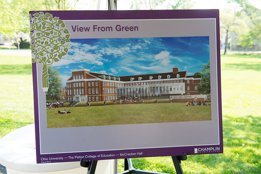 Architectural renderings for the rennovations of McCraken Hall sit on display at a groundbreaking ceremony on Thursday, May 7, 2015. Photo by Ben Siegel/ Ohio University