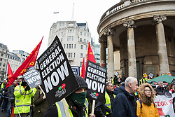 London, UK. 12th January, 2019. Hundreds of protesters take part in a 'Britain is Broken: General Election Now' demonstration organised by the People's Assembly Against Austerity. Organisers argued that the overriding objective of working people in the UK should be to remove the Conservative Government from power through a general election regardless of their vote in the EU referendum.