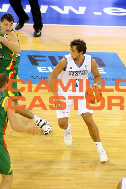 DESCRIZIONE : Madrid Spagna Spain Eurobasket Men 2007 Italia Lituania Itlay Lithuania<br />GIOCATORE : Marco Belinelli<br />SQUADRA : Italia Italy <br />EVENTO : Eurobasket Men 2007 Campionati Europei Uomini 2007 <br />GARA : Italia Lituania Italy Lithuania<br />DATA : 08/09/2007 <br />CATEGORIA : Palleggio<br />SPORT : Pallacanestro <br />AUTORE : Ciamillo&amp;Castoria/G.Ciamillo<br />Galleria : Eurobasket Men 2007 <br />Fotonotizia : Madrid Spagna Spain Eurobasket Men 2007 Italia Lituania Italy Lithuania<br />Predefinita :
