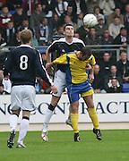 Dundee's Milan Palenik outjumps St Johnstone's Peter MacDonald - St Johnstone v Dundee, McDiarmid Park, Perth, 18/08/2007