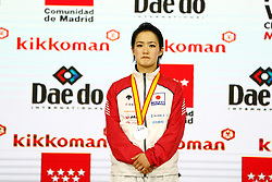 November 10, 2018 - Madrid, Madrid, Spain - Shimizu Kiyou of Japan win the silver medal and the second place of the tournament of Female Kata tournament during the Finals of Karate World Championship celebrates in Wizink Center, Madrid, Spain, on November 10th, 2018. (Credit Image: © AFP7 via ZUMA Wire)