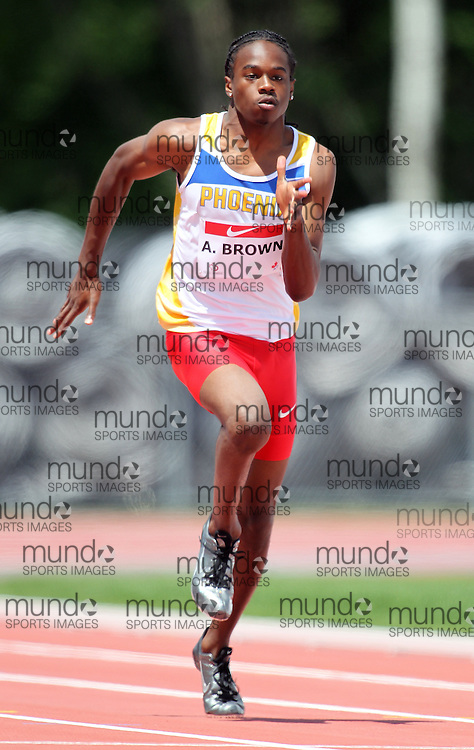 (Moncton,  New Brunswick) --- .Aaron Brown100m001_0710CA.jpg at the 2010 Canadian Junior Track and Field championships in Moncton, New Brunswick July 04 ,  2010)... Photograph copyright Claus Andersen / Mundo Sport Images, 2010.