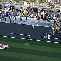 Trevor Bayne driving the Motorcraft/Quick Lane Ford celebrates after winning the Daytona 500 Sprint Cup race at Daytona International Speedway on February 20, 2011 in Daytona Beach, Florida. (AP Photo/Alex Menendez)