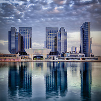 Sowwah Square the centre of the Financial hub in the city of Abu Dhabi and home of the Abu Dhabi Stock Exchange and The luxurious Galleria Mall below it, to its right we can see the elegant Rosewood Hotel