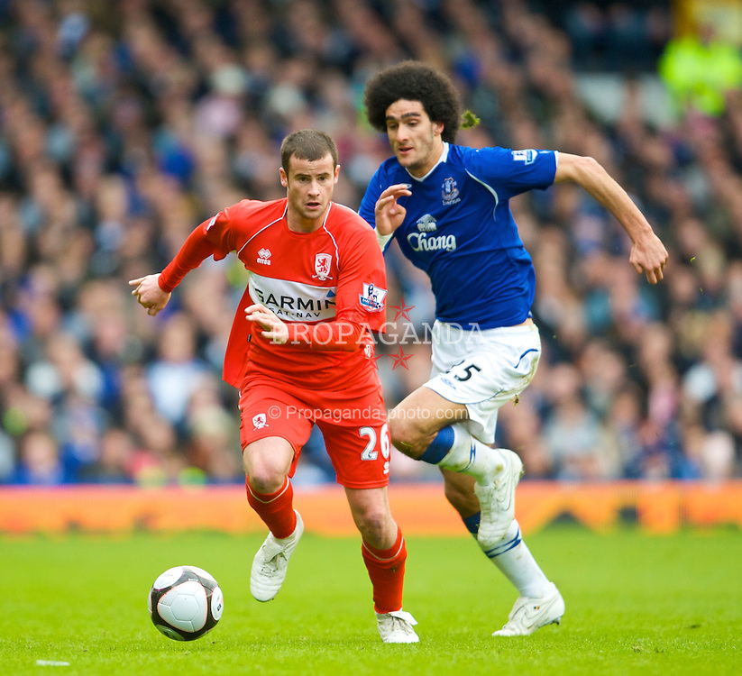 LIVERPOOL, ENGLAND - Sunday, March 8, 2009: Middlesbrough's Matthew Bates and Everton Marouane Fellaini during the FA Cup Quarter-Final match at Goodison Park. (Photo by David Rawcliffe/Propaganda)