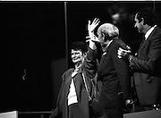 Fianna Fáil Ard Fheis.  (R97)..1989..25.02.1989..02.25.1989..25th February 1989..The Fianna Fáil Ard Fheis was held today at the RDS Main Hall, Ballsbridge, Dublin. An Taoiseach, Charles Haughey TD,gave the keynote speech of the event...Image shows Mrs Maureen Haughey, wife of An Taoiseach, Charles Haughey, being welcomed by delegates at the Fianna Fáil Ard Fheis