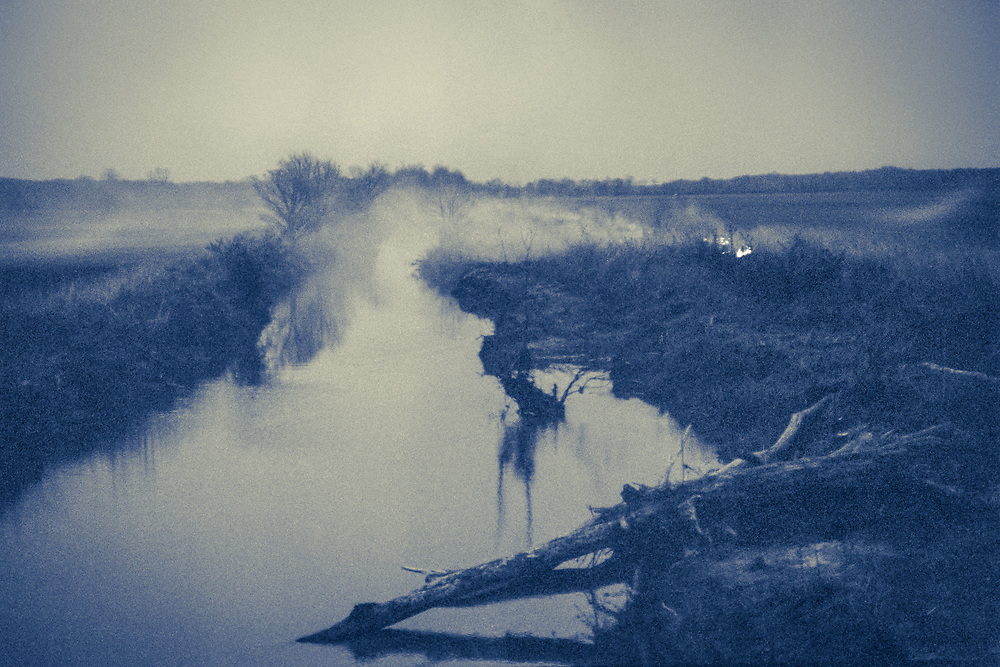 Late day misty creek from small fire in northern rural Mississippi  (1988)