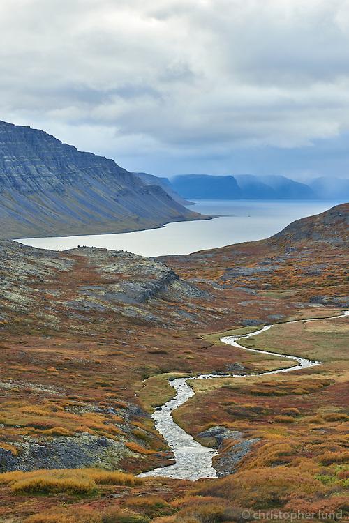 Svíná river running towars sea into Dynjandisvogur. West fiords of Iceland.
