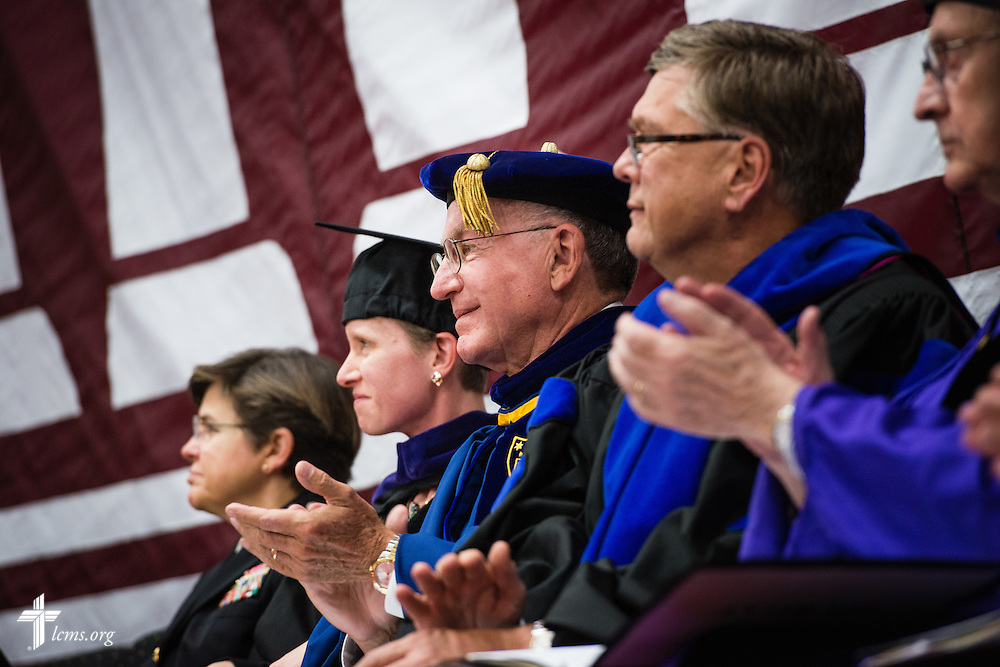The Rev. Dr. Dean O. Wenthe, president of the Concordia University System, attends the inauguration of the Rev. Dr. Daniel Lee Gard, president of Concordia University Chicago, at the college in River Forest, Ill., on Friday, Oct. 10, 2014. LCMS Communications/Erik M. Lunsford