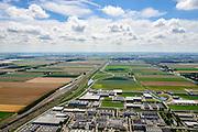 Nederland, Noord-Holland, Hoofddorp, 01-08-2016; NS emplacement Hoofddorp, industrieterrein Graan voor Visch en Bedrijvenpark De President.<br /> Hoofddorp, railway yard and environment.<br /> luchtfoto (toeslag op standard tarieven);<br /> aerial photo (additional fee required);<br /> copyright foto/photo Siebe Swart