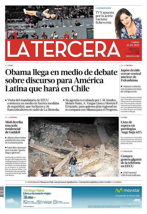 Tomas Gonzalez à la une du quotidien Chilien La Tercera.