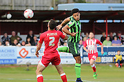 Lyle Taylor forward for AFC Wimbledon (33) makes early attempts on goal during the Sky Bet League 2 play-off 2nd leg match between Accrington Stanley and AFC Wimbledon at the Fraser Eagle Stadium, Accrington, England on 18 May 2016. Photo by Stuart Butcher.