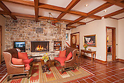 Living room in kitchen at the Riverbend Lodge, Saratoga